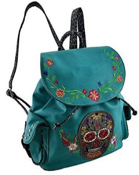 Embroidered Sugar Skull and Floral Trim Concealed Carry Backpack