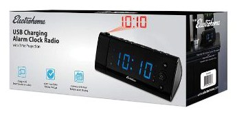 Electrohome USB Charging Alarm Clock Radio with Time Projection (EAAC475)
