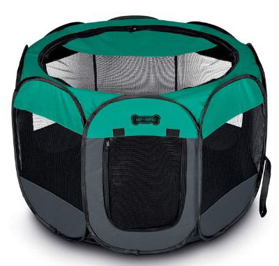 Ruff 'n Ruffus Portable Foldable Pet Playpen + Carrying Case & Collapsible Travel Bowl