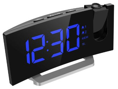 Mpow Projection Alarm Clock, 5'' LED Curved-Screen Projection Clock, FM Radio