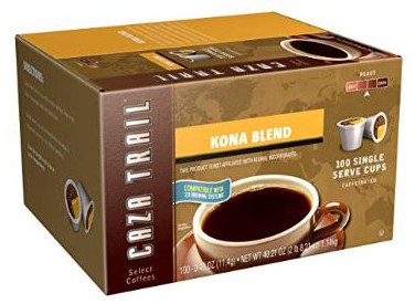 Caza Trail Coffees, Kona Blend, 100 Single Serve Cups