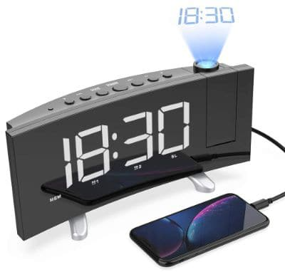 LightBiz Projection Alarm Clock, 7 Large LED Curved-Screen Projection Clock, FM Radio