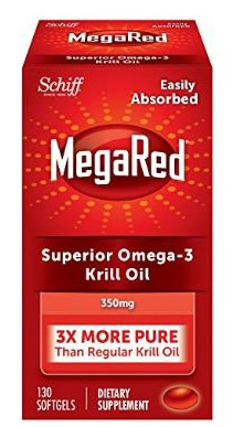 Omega-3 Krill Oil MegaRed 350mg - 130 Softgels- No Fishy Aftertastes as with Fish Oil
