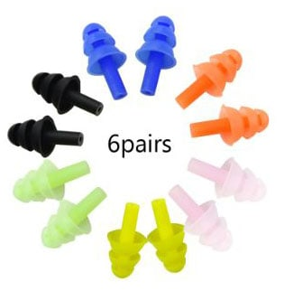 HONBAY 6Pairs Reusable Silicone Swimming Earplugs Soft and Flexible Ear Plugs