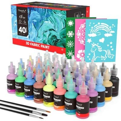 Magicfly 3D Fabric Permanent Paint 40 Color, Puffy Paint with Vibrant Colors