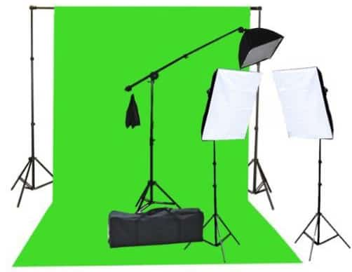 Fancierstudio 2000 Watt Lighting Kit with 10'x12' Chromakey Green Screen and Three Softbox Lights