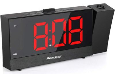 REACHER Projection Alarm Clock with Dual Alarm USB 0-100 Dimmer and Snooze Time