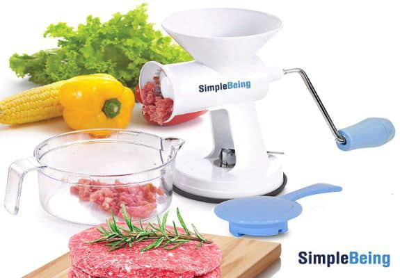 Simple Being Manual Meat Grinder Set with Stainless Steel Blades