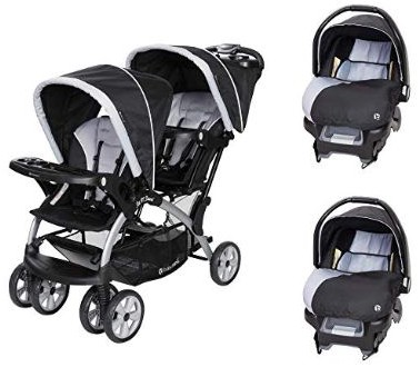 Baby Trend Sit N Stand Tandem Stroller + Car Seats