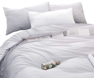 Wake In Cloud - Gray White Striped Comforter Set