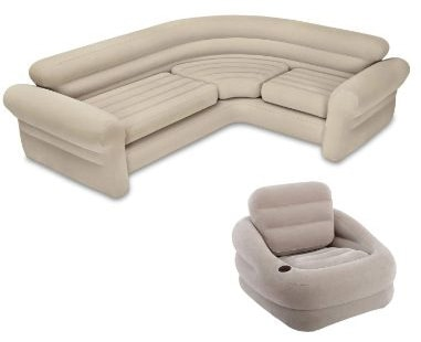 Intex Inflatable Corner Living Room Neutral Sectional Sofa + Khaki Accent Chair