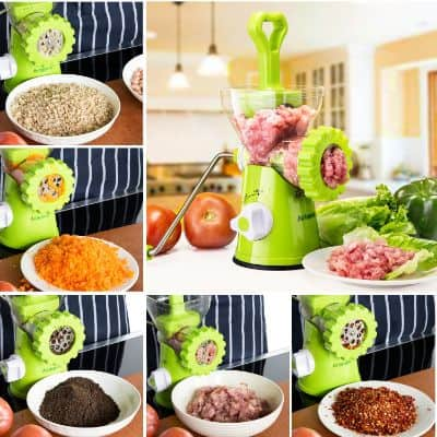 Artence Meat Grinder, Stainless Steel Plate, Powerful Suction Base