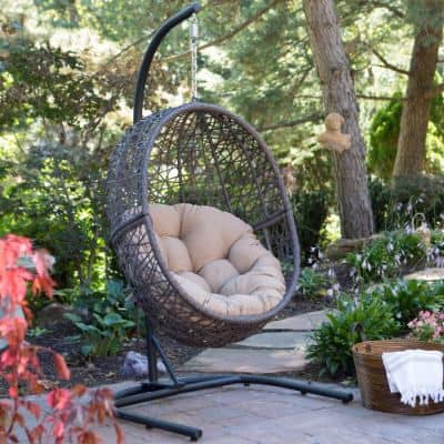 Resin Wicker Hanging Egg Chair Outdoor Patio Furniture with Cushion and Stand