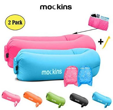 Mockins 2 Pack Blue Pink Inflatable Lounger Hangout Sofa Bed