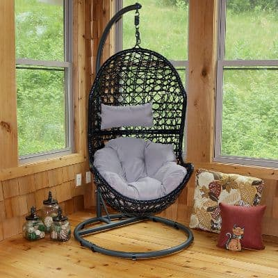 Sunnydaze Cordelia Hanging Egg Chair Swing with Steel Stand Set