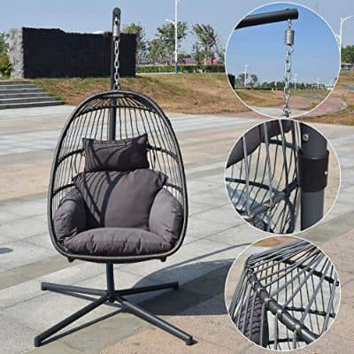 Homgrace Hanging Basket Egg Chair, Detachable Wicker Hanging Swing Chair