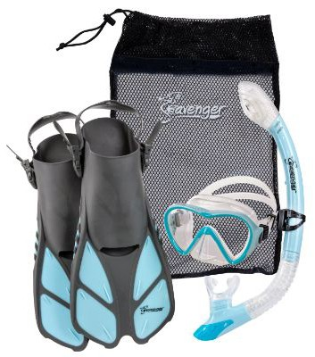 Seavenger Diving Dry Top Snorkel Set with Trek Fin, Single Lens Mask, and Gear Bag