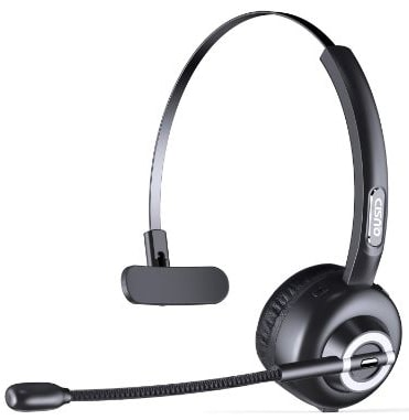 CISNO Bluetooth Headset with Mic, Wireless over the Head Earpiece, Noise Cancelling