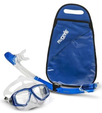 PRODIVE Premium Dry Top Snorkel Set - Impact Resistant Tempered Glass Diving Mask, Watertight and Anti-Fog Lens