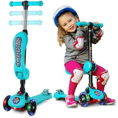 2-in-1 Scooter for Kids with Folding Removable Seat Zero Assembling – Adjustable Height Kick Scooter for Toddlers Girls & Boys