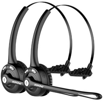 Mpow Pro (2-Pack) Truck Driver Bluetooth Headset:Office Headset, Wireless Over the Head Earpiece