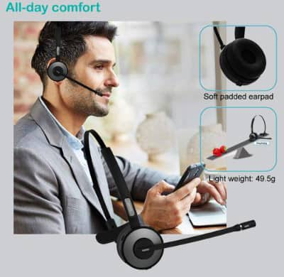 YAMAY Bluetooth Headset for Cell Phones, Wireless Noise Cancelling Bluetooth Headphones