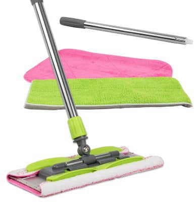 LINKYO Microfiber Mop | Hardwood Floor Mop | 3 Flat Mop Pads and Stainless Steel Handle