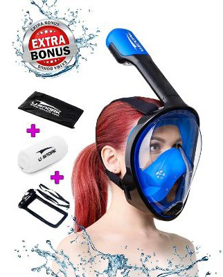 Full Face Snorkel Mask for Kids and Adults - Anti-Fog and Anti-Leak Easybreath Snorkeling Gear