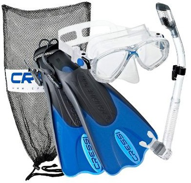 Cressi Palau Mask Fin Snorkel Set with Snorkeling Gear Bag