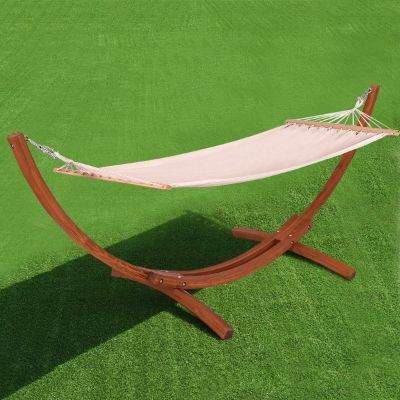 Giantex Wooden Curved Hammock Stand with Cozy Cotton Fabric Hammock