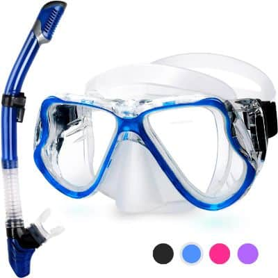 Greatever 2019 Newest Dry Snorkel Set, Panoramic Wide View, Anti-Fog Scuba Diving Mask