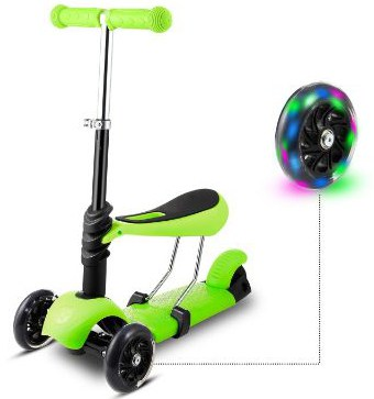 Hikole Scooter Kids Toddlers with Seat | 3-in-1 Foldable Portable Adjustable 3 Wheels Mini Kick Scooter with LED Light Up Wheels