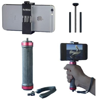 RetiCAM Smartphone Tripod Mount with Hand Grip - All Metal Heavy-Duty Hand-Held Stabilizer