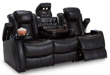 Seatcraft 162E51151459-V1 Omega Leather Gel Home Theater Seating Power Recline Multimedia Sofa