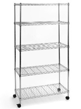 Seville Classics 5-Tier Steel Wire Shelving with Wheels, 30 W x 14 D x 60 H, Plated Steel