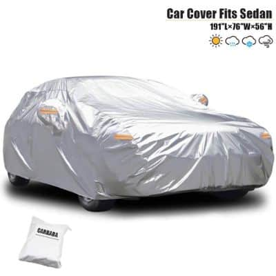 CARBABA Car Cover, All Weather Waterproof Windproof Scratch Resistant Sunlight Protection Thicker Car Covers