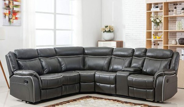 Large Classic and Traditional Two Tone Bonded Leather Reclining Corner Sectional Sofa