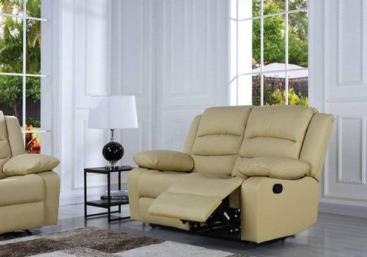 DIVANO ROMA FURNITURE Traditional Classic Reclining Sofa Set - Real Grain Leather Match - Double Recliner