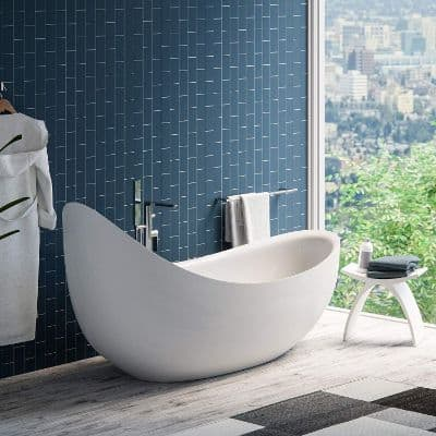 MAYKKE Hialeah 79 Modern Unique Large Acrylic Freestanding Bathtub