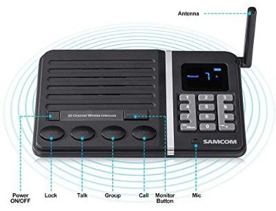 Wireless Intercom System, SAMCOM FTAN30A 20-Channel Build-in Battery Intercom System for Home Office