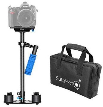 Dazzne 24:60cm Camera Stabilizer Carbon Fiber Steadicam with Quick Release Plate 1:4 and 3:8 Screw for DSLR