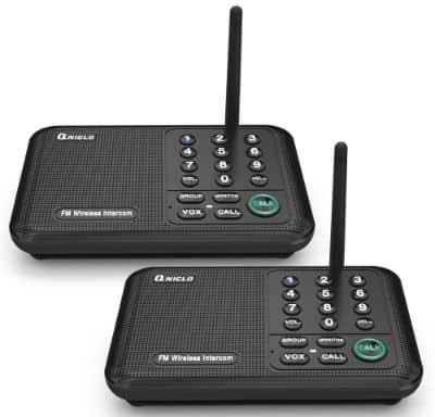 Qniglo Wireless Intercom System 10 Channel 1:2 Mile Long Range FM Wireless Intercoms for Home, Office