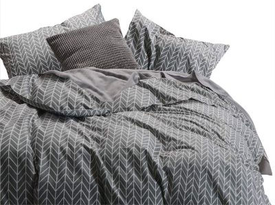 Wake In Cloud - Gray Comforter Set, Chevron Zig Zag Geometric Modern Pattern Printed