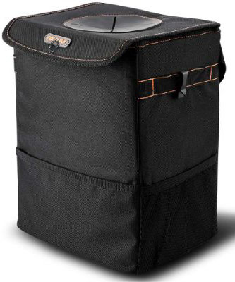 BOLTLINK Car Trash Can with Lid, Car Trash Bag Hanging for Headrest with 3 Storage