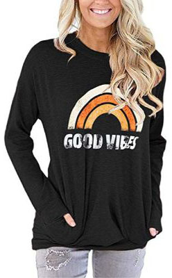 TECREW Womens Good Vibes Long Sleeve Tunic Tops Loose Casual Sweatshirt Pocket T-Shirts Blouse