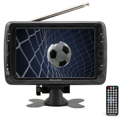 Milanix MX7 7 Portable Widescreen LCD TV with Detachable Antennas, USB:SD Card Slot, Built-in Digital Tuner, and AV Inputs