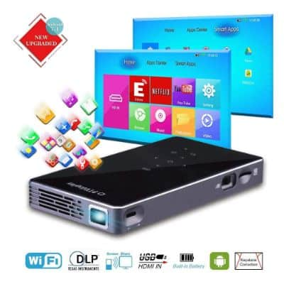 PTVDISPLAY Mini Pico Pocket Projector, Android 7.1 1080P