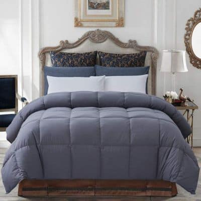 Decroom 100% Cotton Quilted Down Comforter Grey