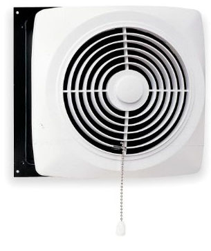 Broan Chain-Operated Ventilation Fan, Plastic White Square Exhaust Fan