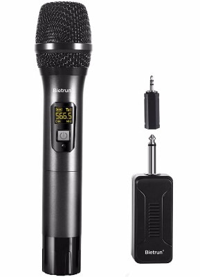 Wireless Microphone, UHF Handheld Dynamic Mic System Set with Rechargeable Receiver
